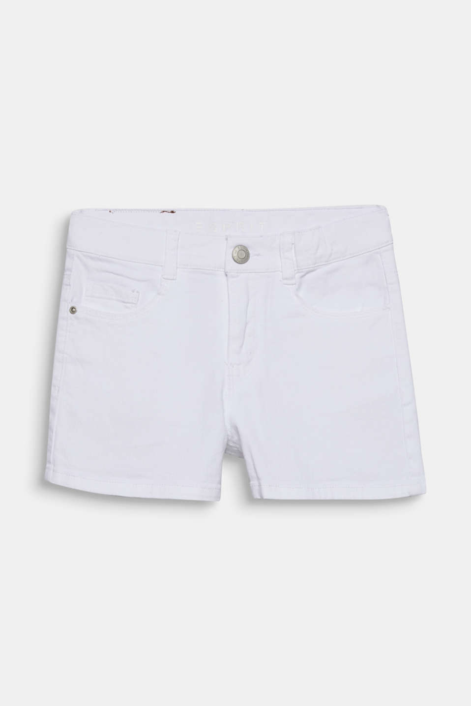 Esprit - Smalle denim short met stretch, verstelbare band