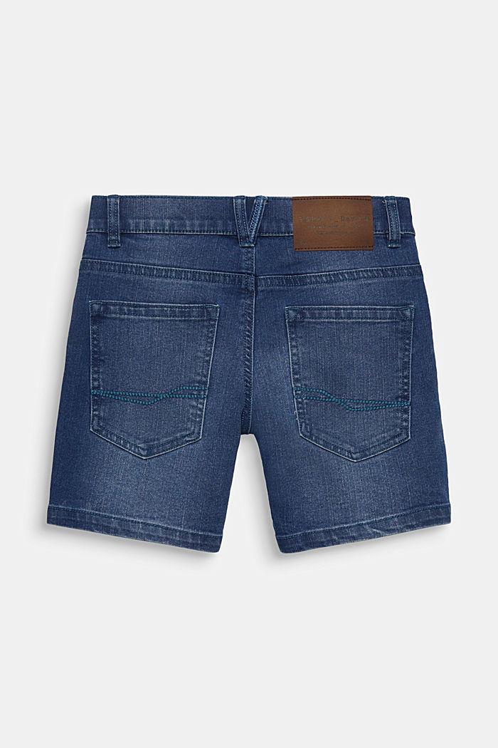Comfy stretch denim shorts, adjustable waistband