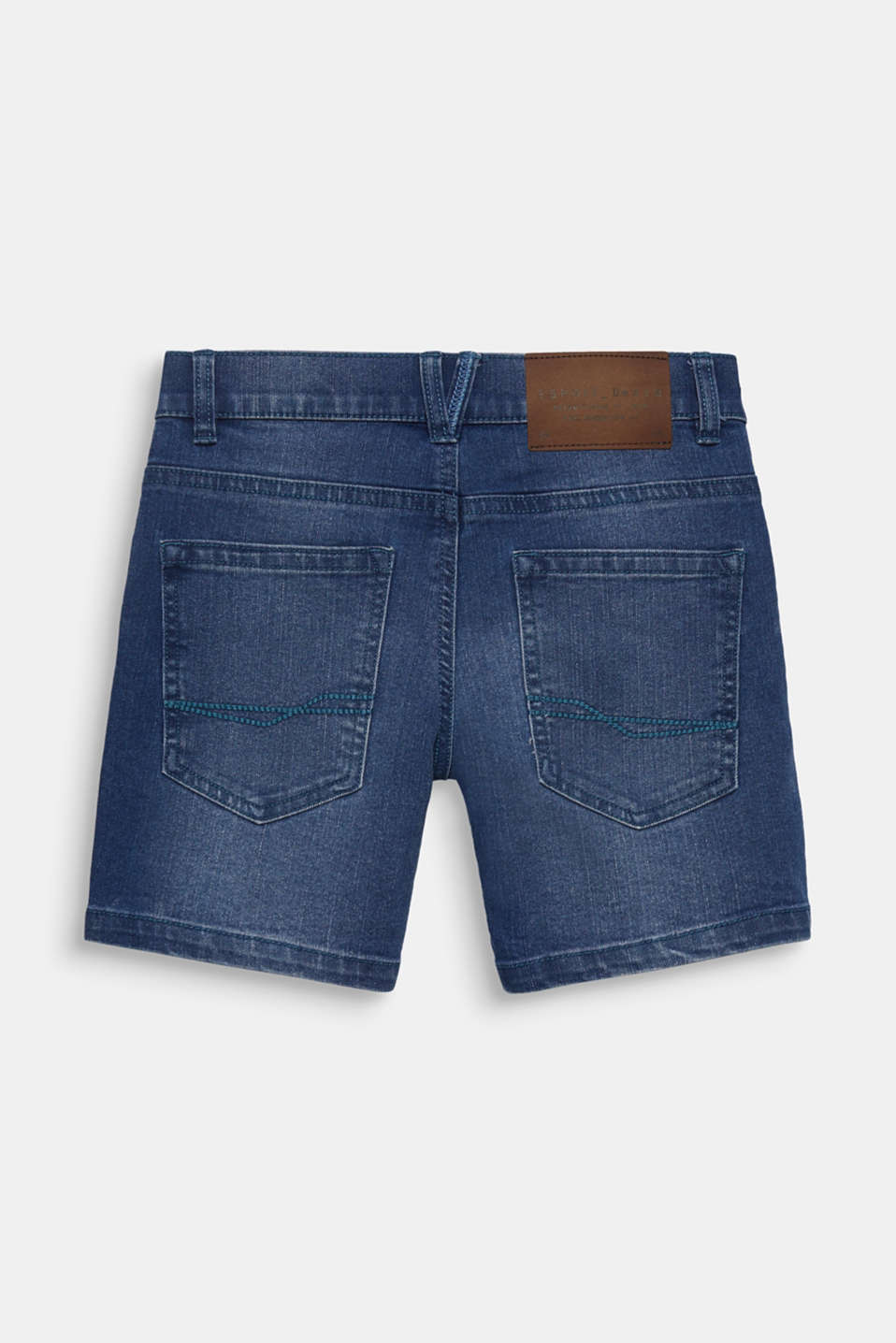 Comfy stretch denim shorts, adjustable waistband, LCLIGHT INDIGO D, detail image number 1