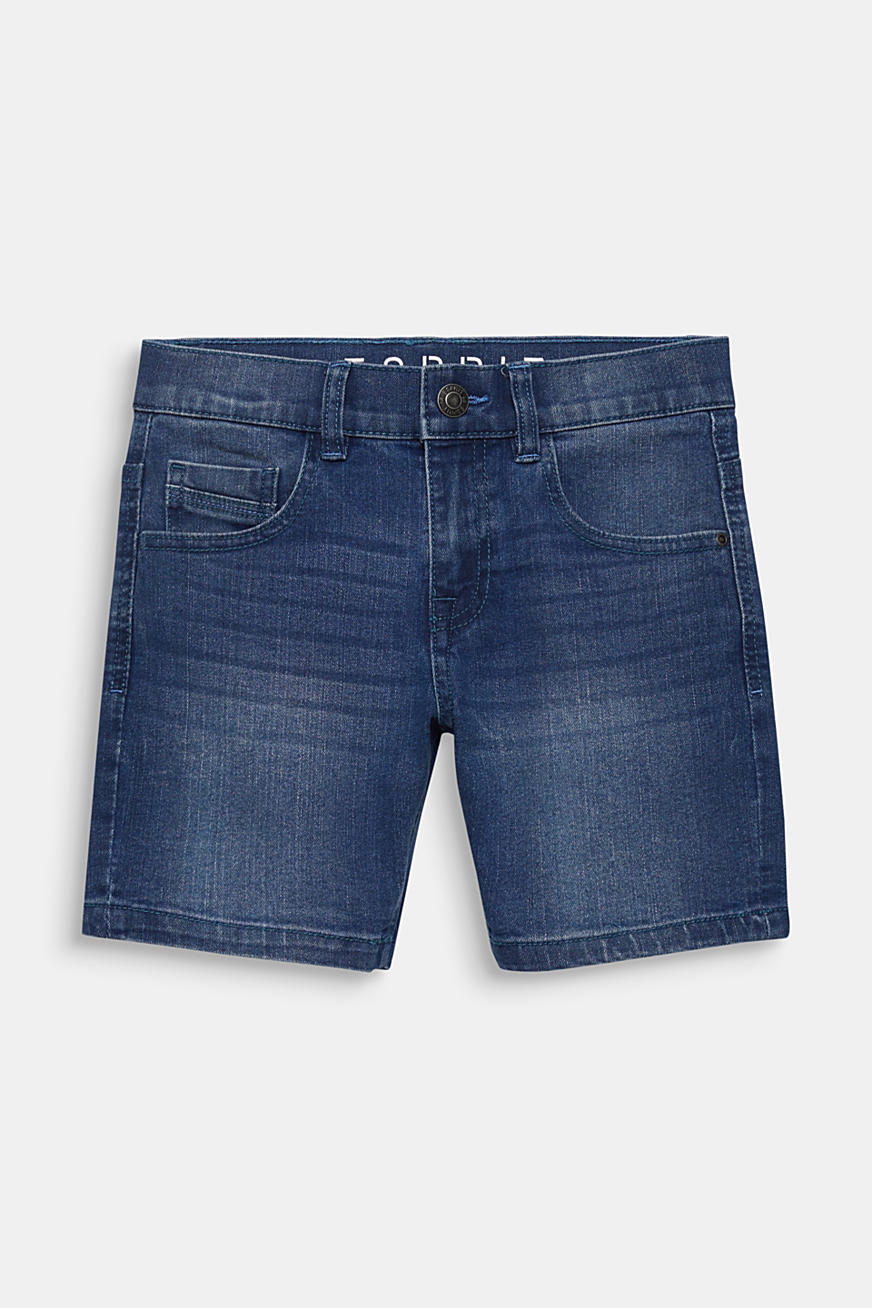 Comfy stretch denim shorts, adjustable waistband