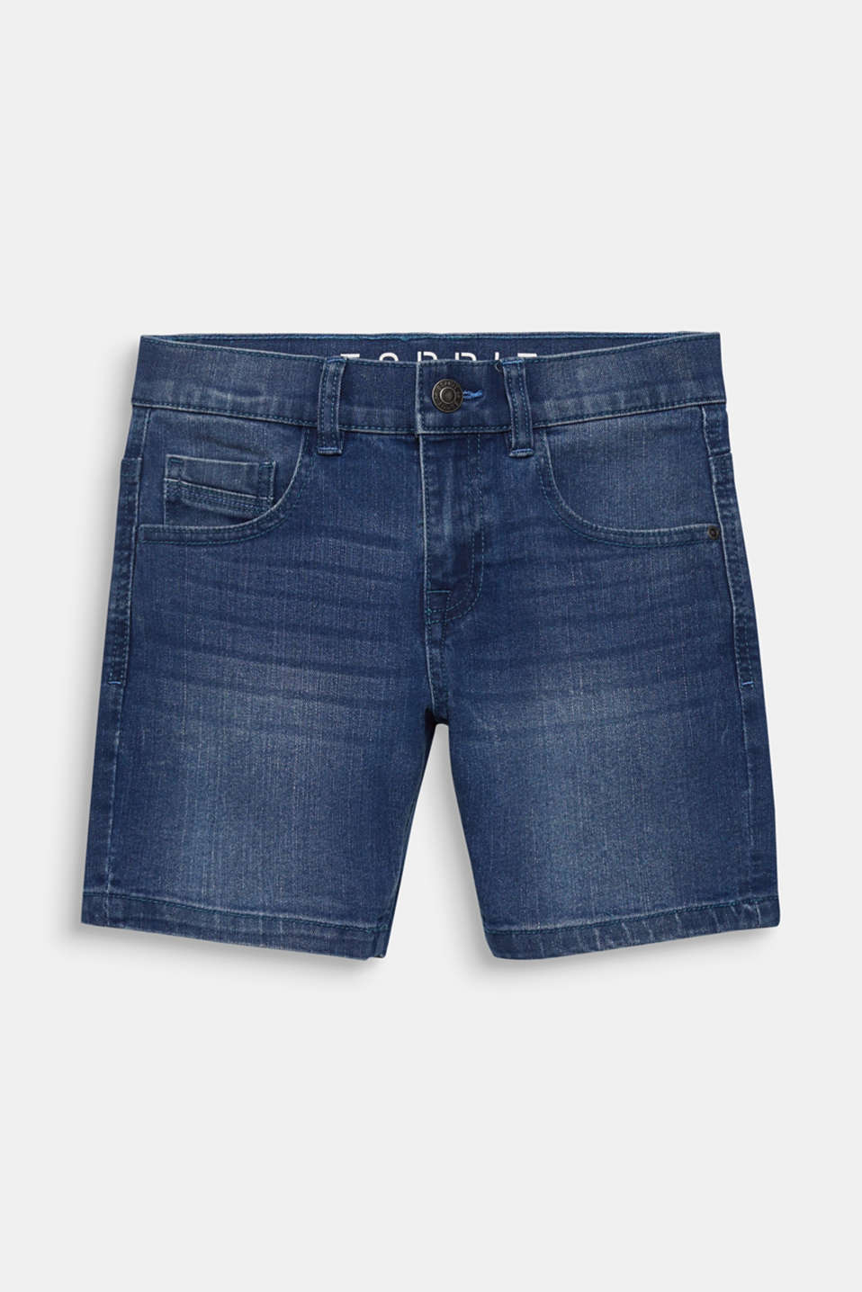 Comfy stretch denim shorts, adjustable waistband, LCLIGHT INDIGO D, detail image number 0