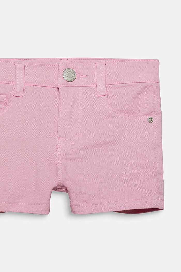 Coloured denim shorts with an adjustable waistband, LIGHT PINK, detail image number 2