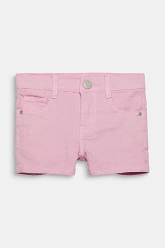 Coloured denim shorts with an adjustable waistband