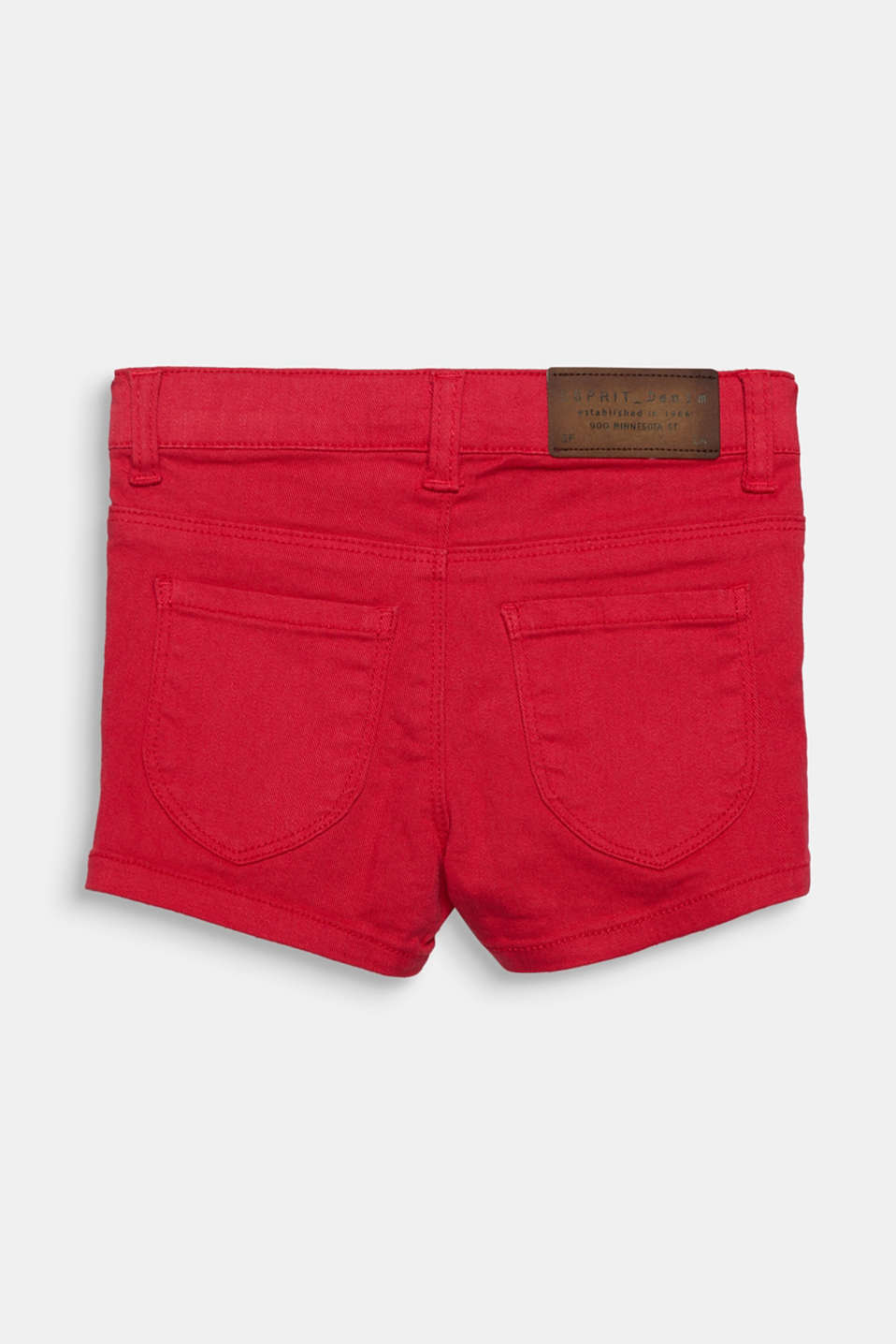 Coloured denim shorts with an adjustable waistband, RASPBERRY, detail image number 1