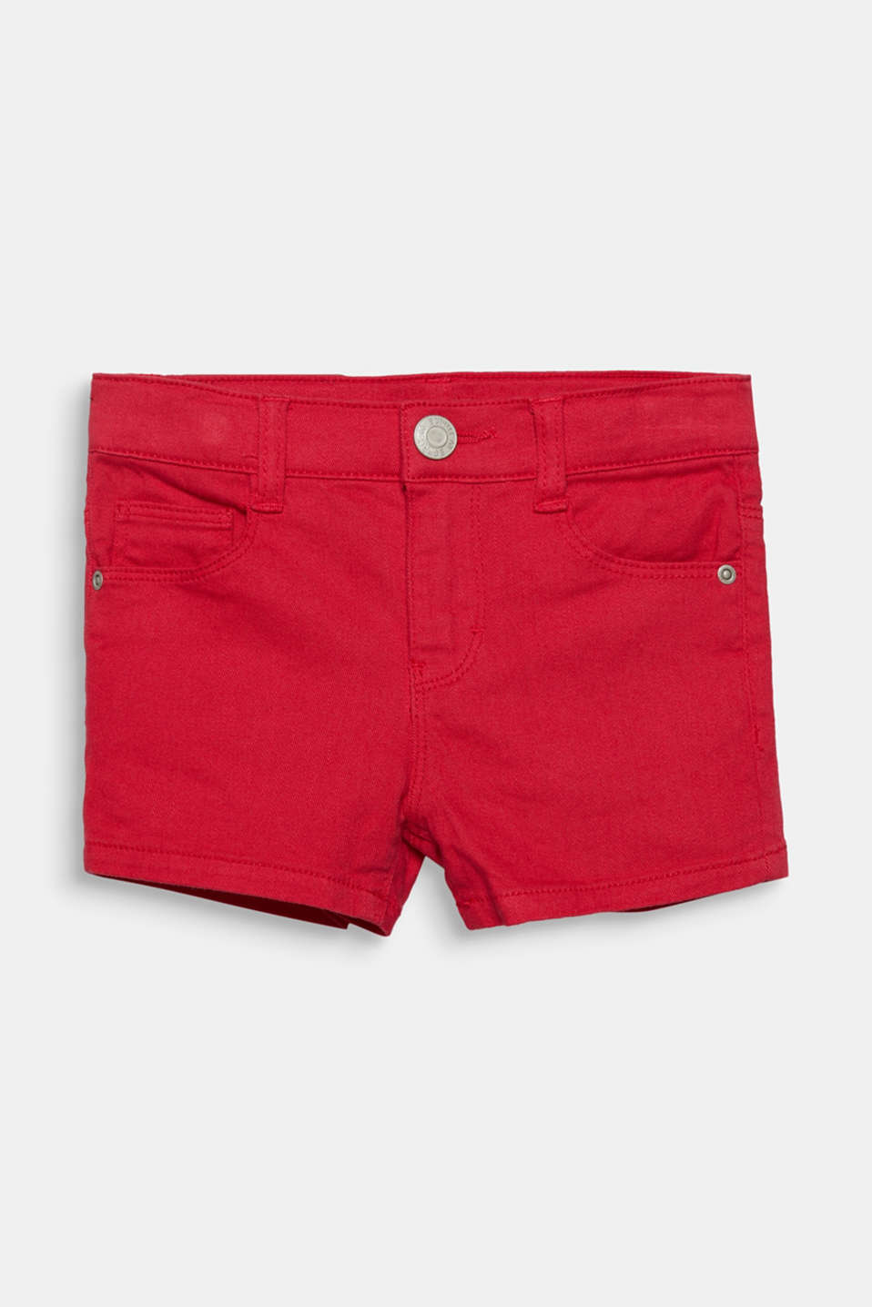 Coloured denim shorts with an adjustable waistband, RASPBERRY, detail image number 0