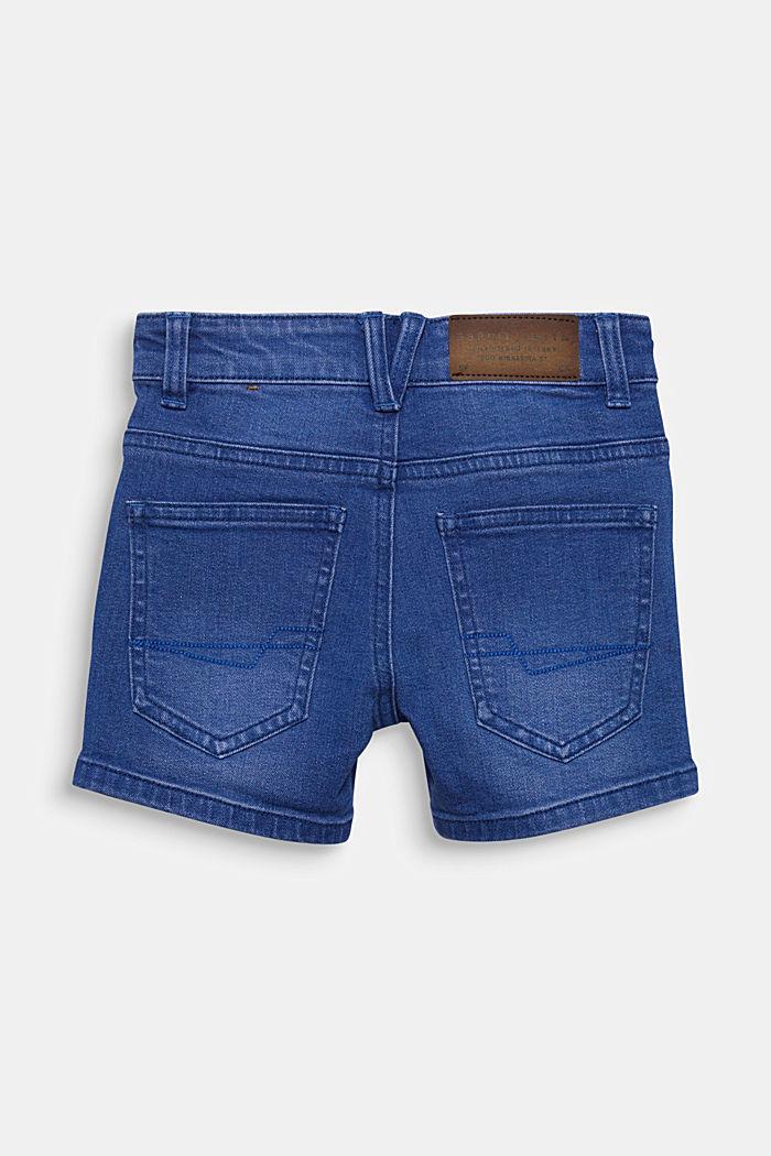 Stretch coloured denim shorts, adjustable waistband