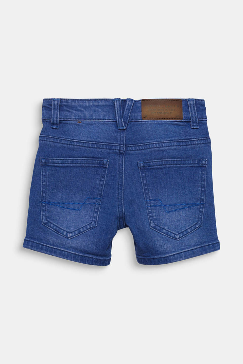 Stretch coloured denim shorts, adjustable waistband, BRIGHT BLUE DE, detail image number 1