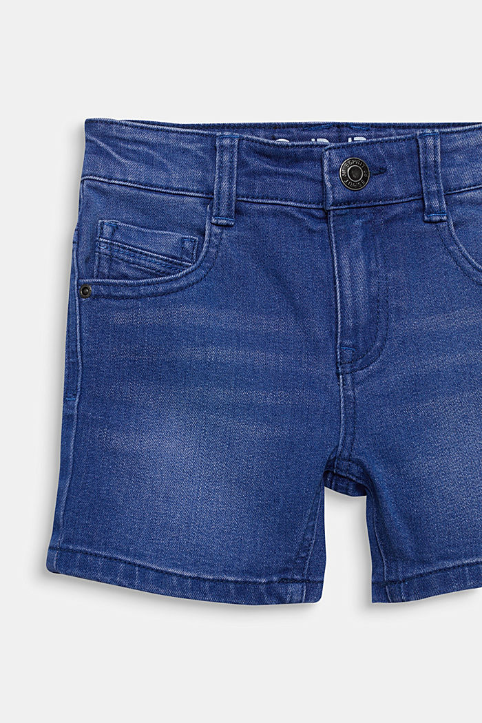 Stretch coloured denim shorts, adjustable waistband, BRIGHT BLUE, detail image number 2