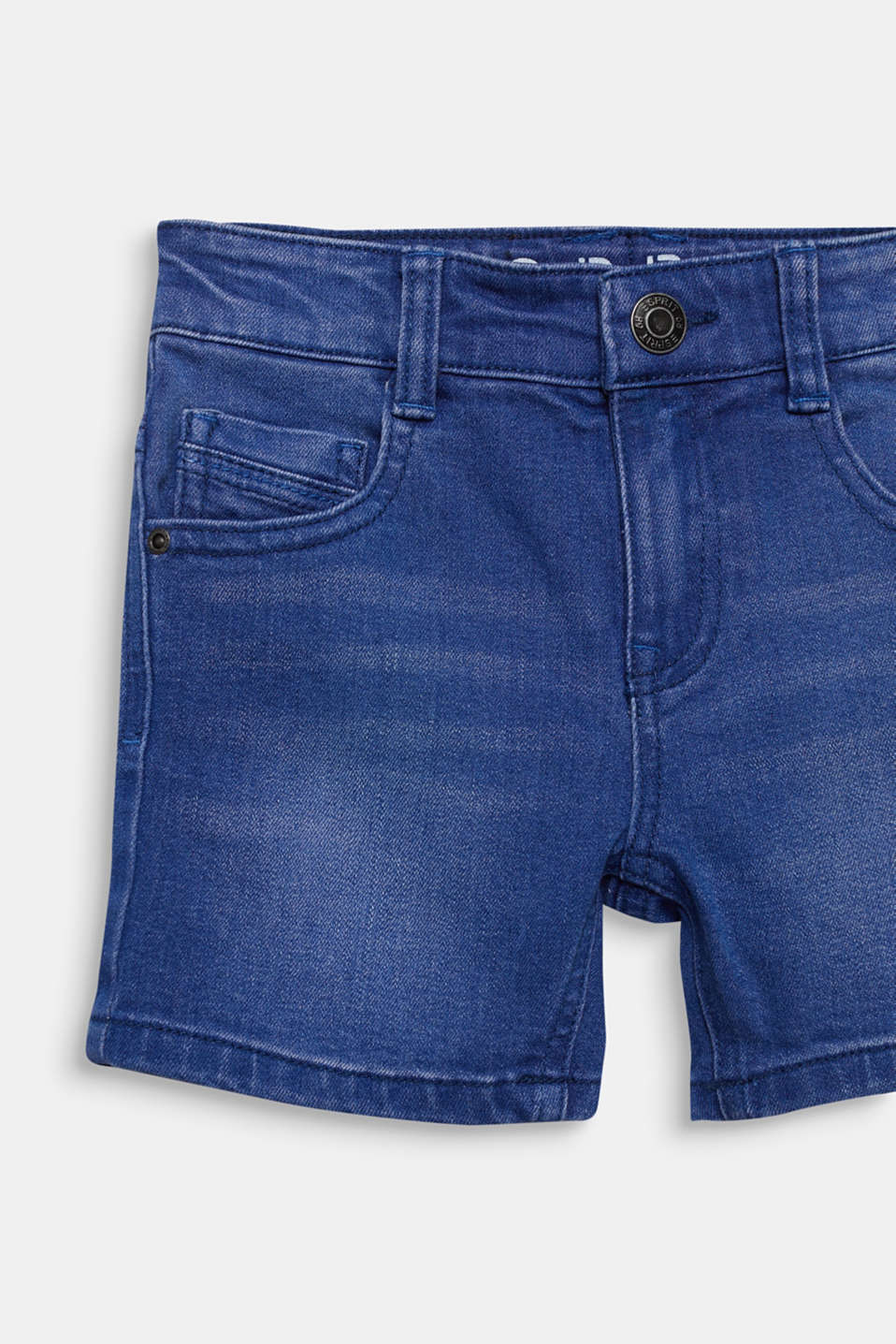 Stretch coloured denim shorts, adjustable waistband, BRIGHT BLUE DE, detail image number 2