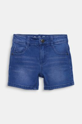 Stretch coloured denim shorts, adjustable waistband, BRIGHT BLUE DE, detail