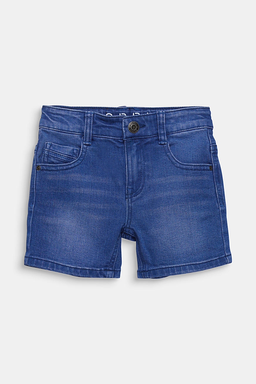 Stretch-shorts af colored denim, justerbar livvidde