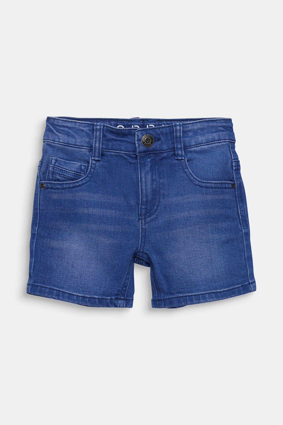 Stretch coloured denim shorts, adjustable waistband, BRIGHT BLUE DE, detail image number 0