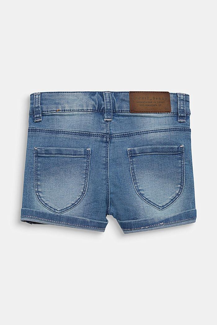 Denim-Shorts mit Turn-up-Säumen, Verstellbund, LIGHT INDIGO DENIM, detail image number 1