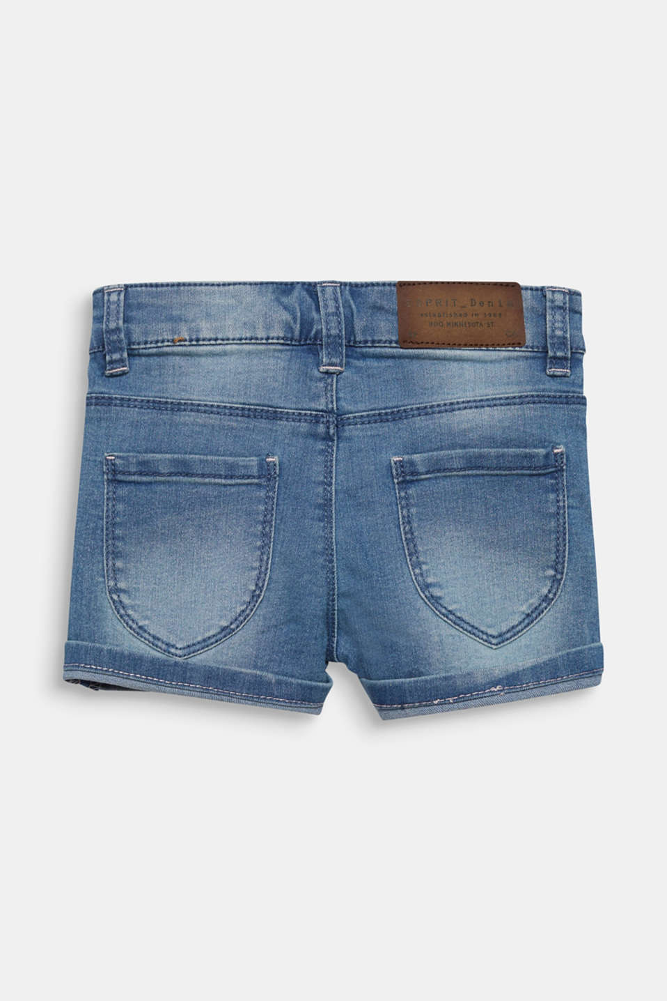 Denim shorts with turn-up hems, adjustable waistband, LIGHT INDIGO D, detail image number 1