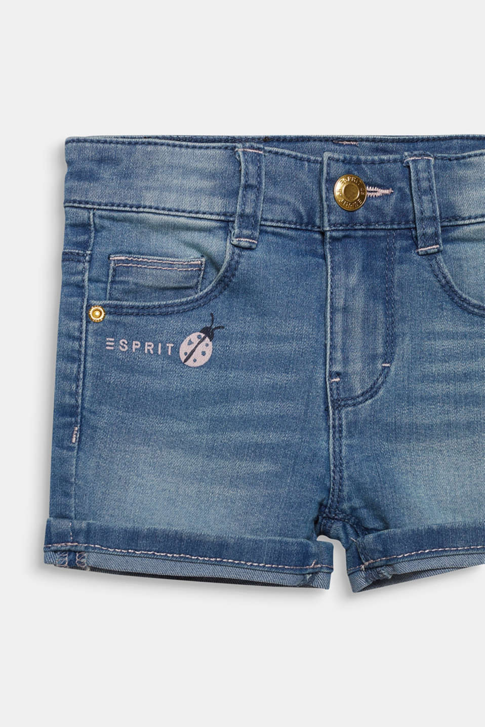 Denim shorts with turn-up hems, adjustable waistband, LIGHT INDIGO D, detail image number 2