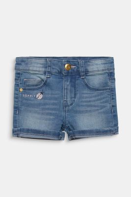 Denim shorts with turn-up hems, adjustable waistband, LIGHT INDIGO D, detail