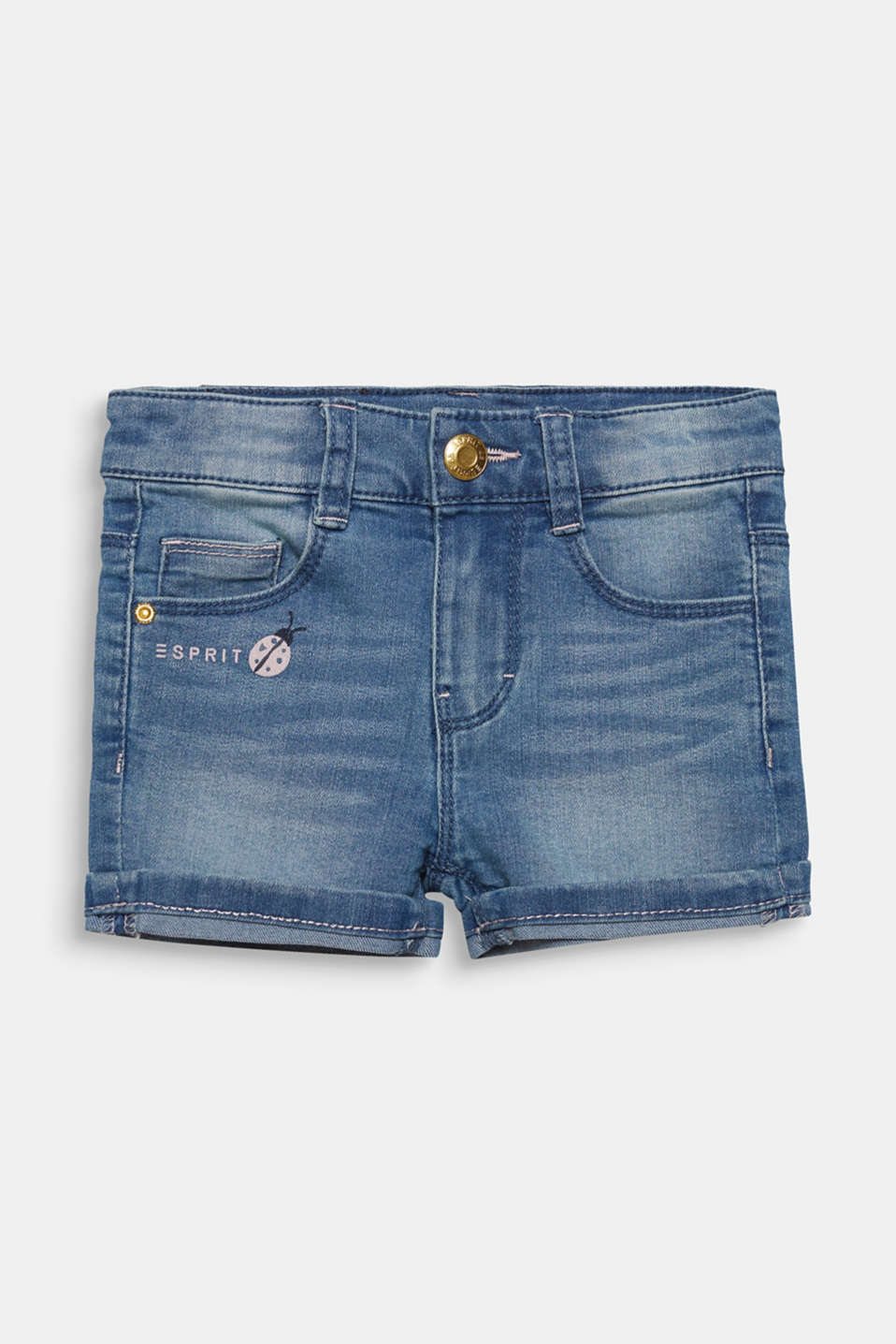 Denim shorts with turn-up hems, adjustable waistband, LIGHT INDIGO D, detail image number 0
