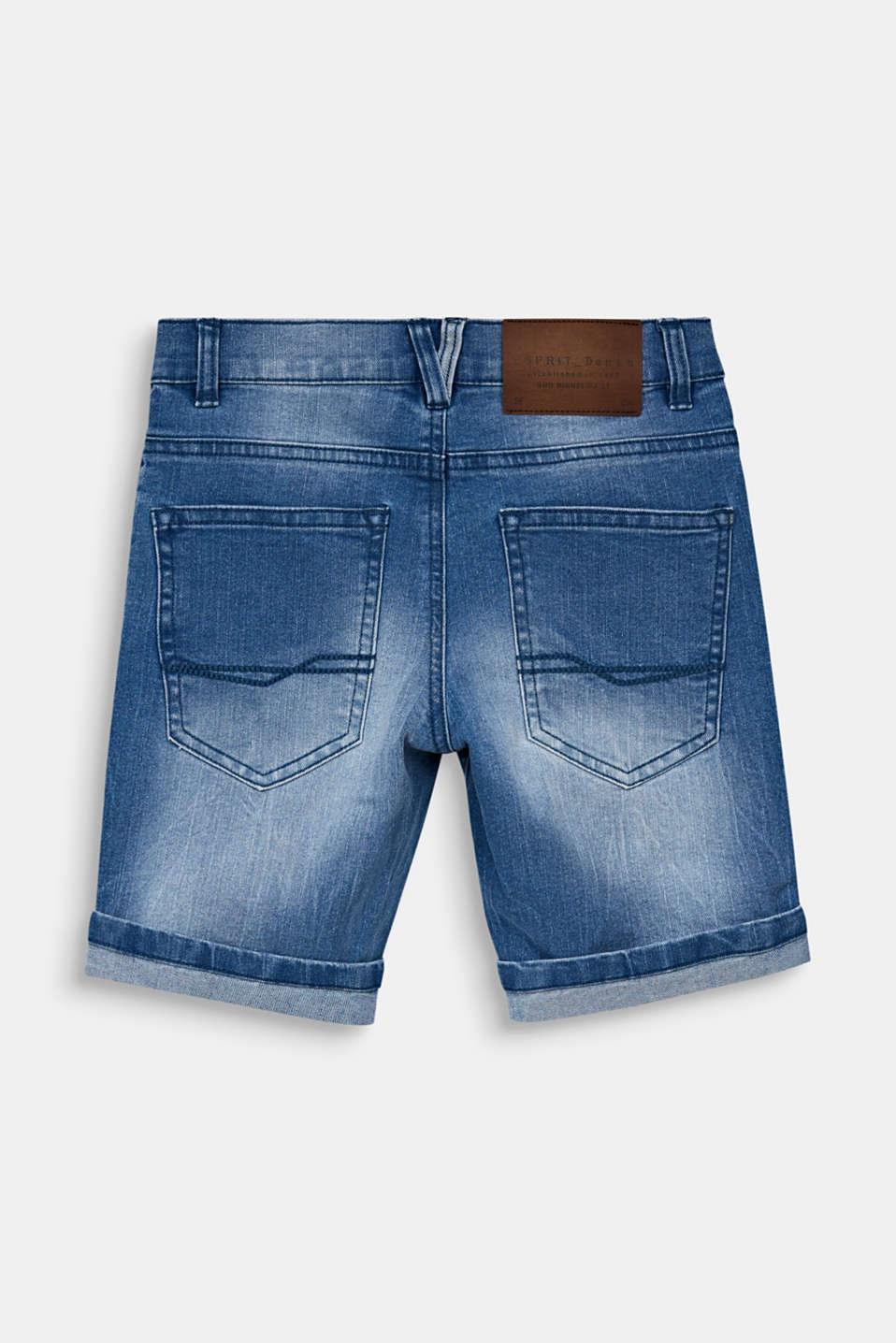 Denim shorts in a vintage finish, LCLIGHT INDIGO D, detail image number 1