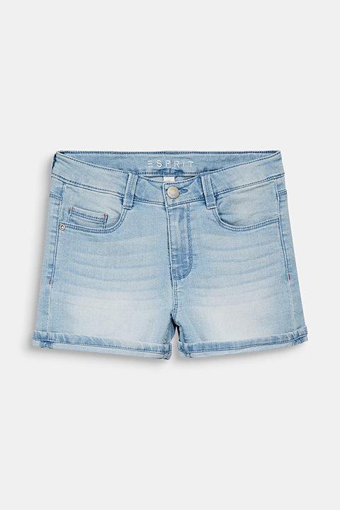 Denim shorts with an adjustable waistband