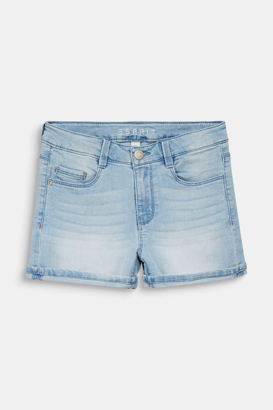 Denim shorts with an adjustable waistband, LCBLEACHED DENIM, detail image number 0
