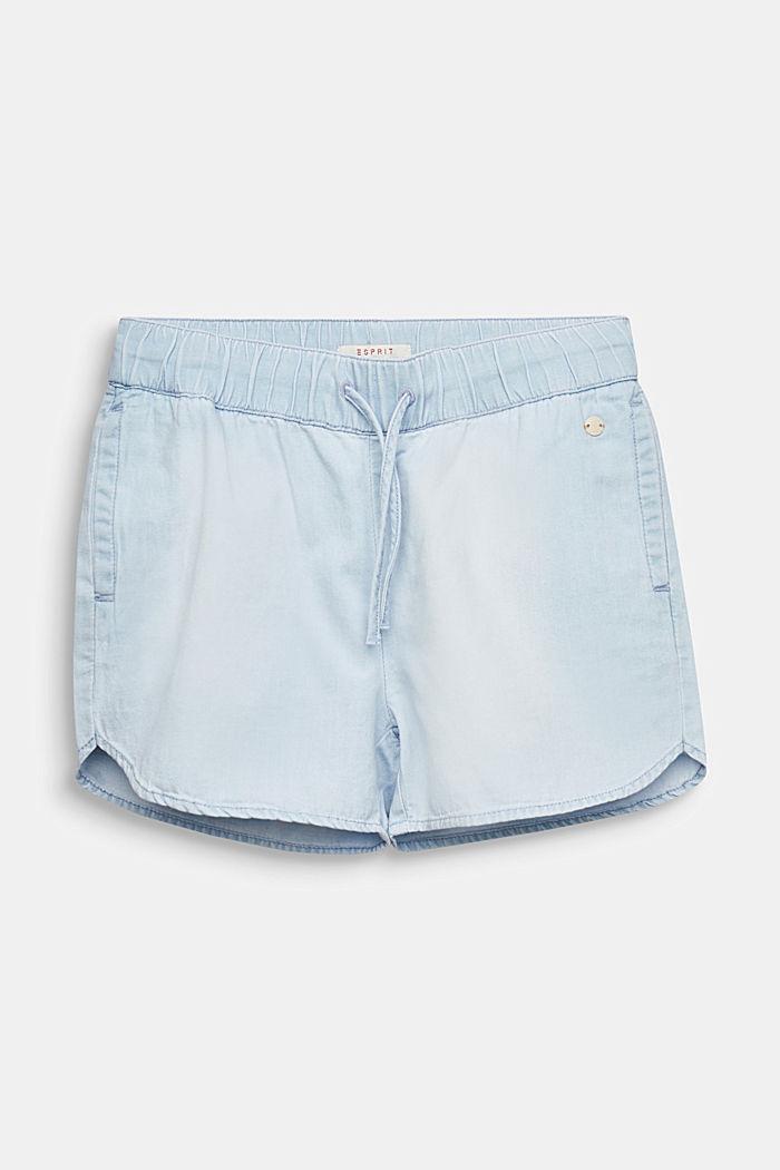 Lightweight denim shorts, 100% cotton, LIGHT INDIGO DENIM, detail image number 0