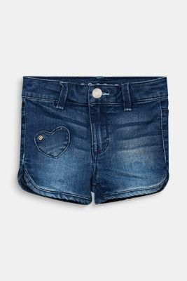 Denim shorts with heart appliqués, MEDIUM WASH DE, detail