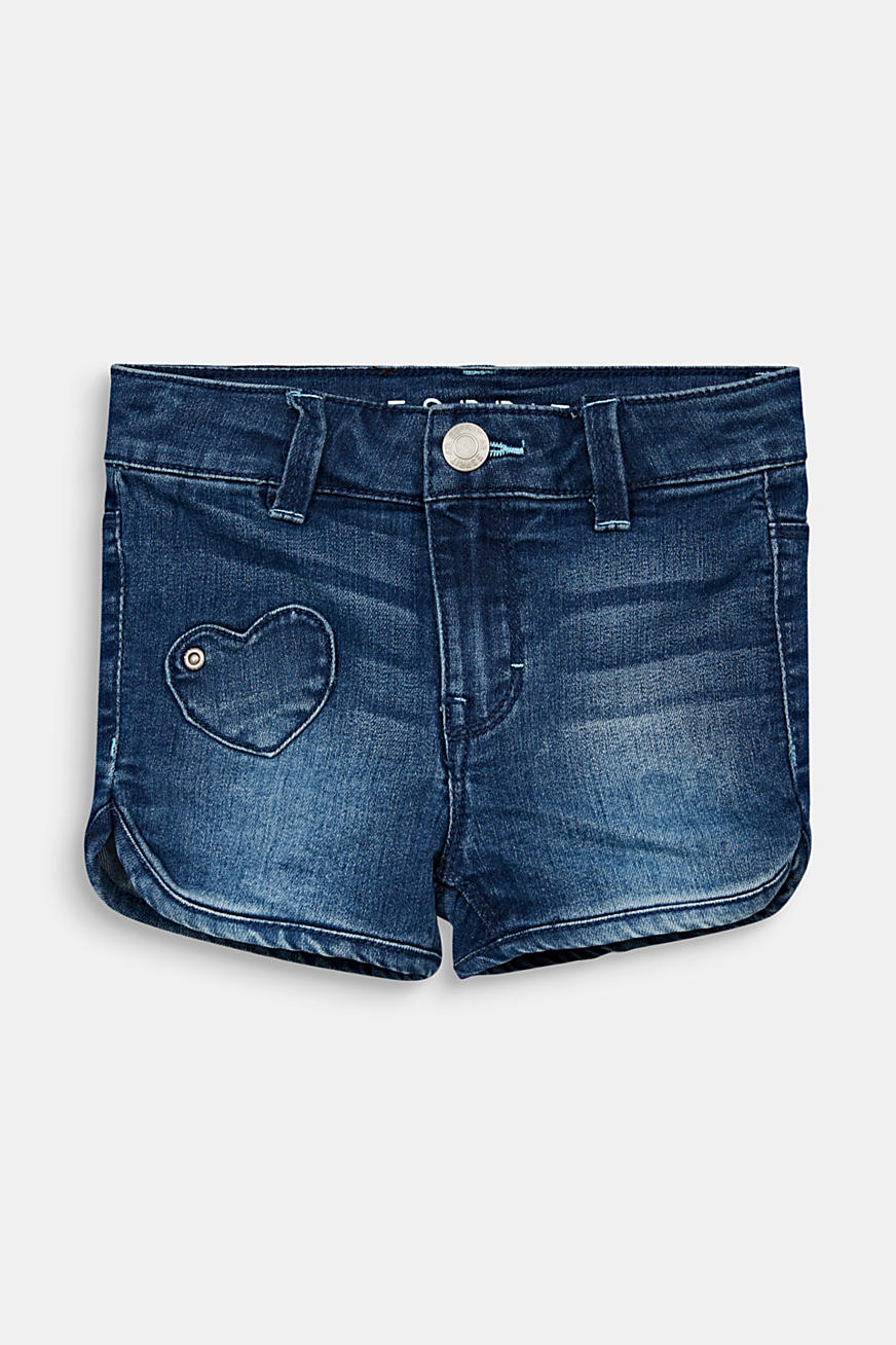 Denim short met hartvormige patches