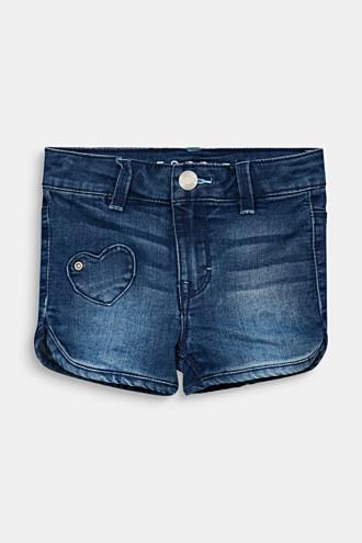 Denim shorts with heart appliqués