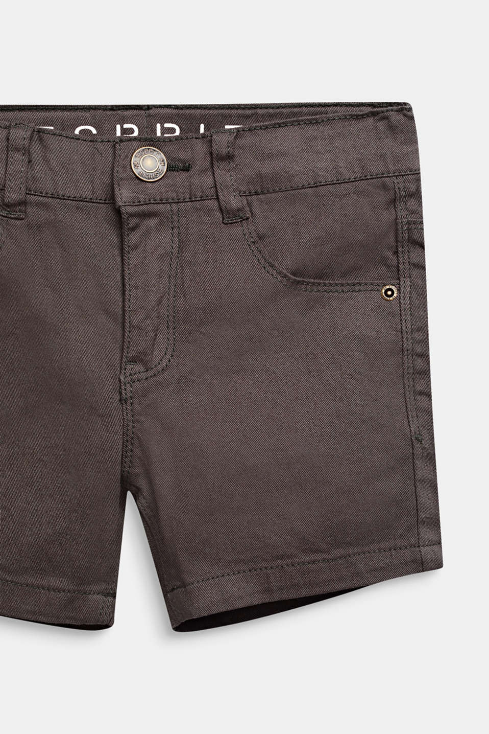Stretch denim shorts in a slim fit, KAKI, detail image number 2