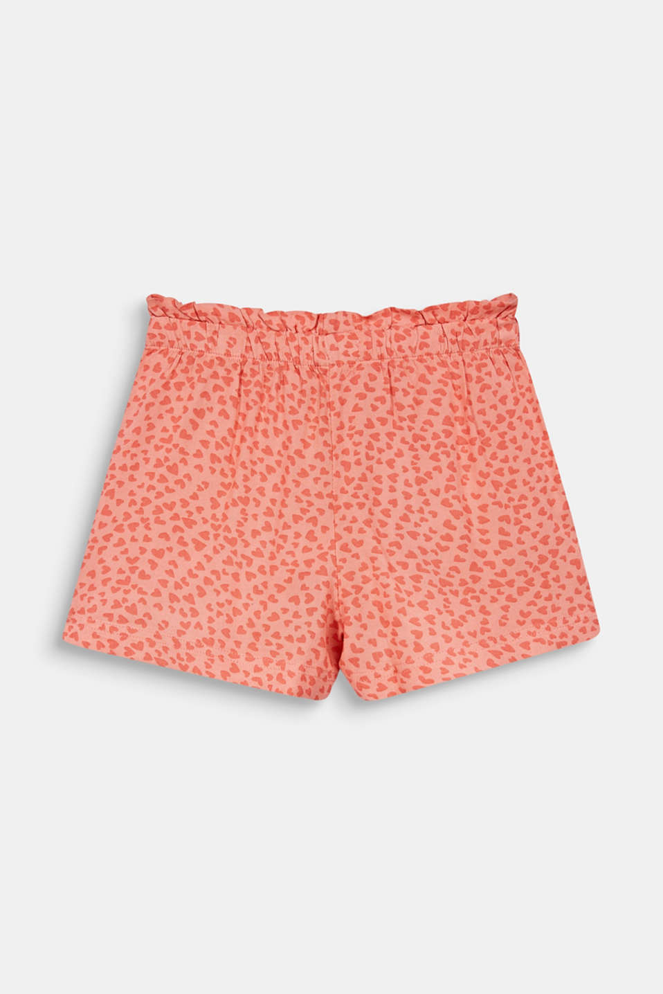 Woven shorts with a heart print, CORAL, detail image number 1