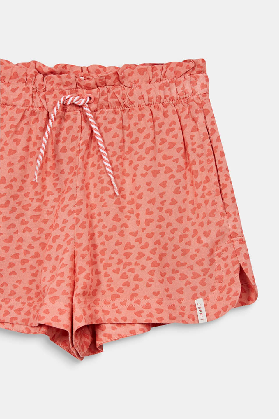 Woven shorts with a heart print, CORAL, detail image number 2