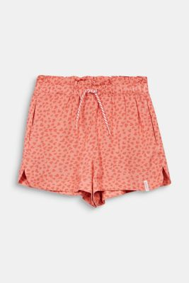 Woven shorts with a heart print, CORAL, detail