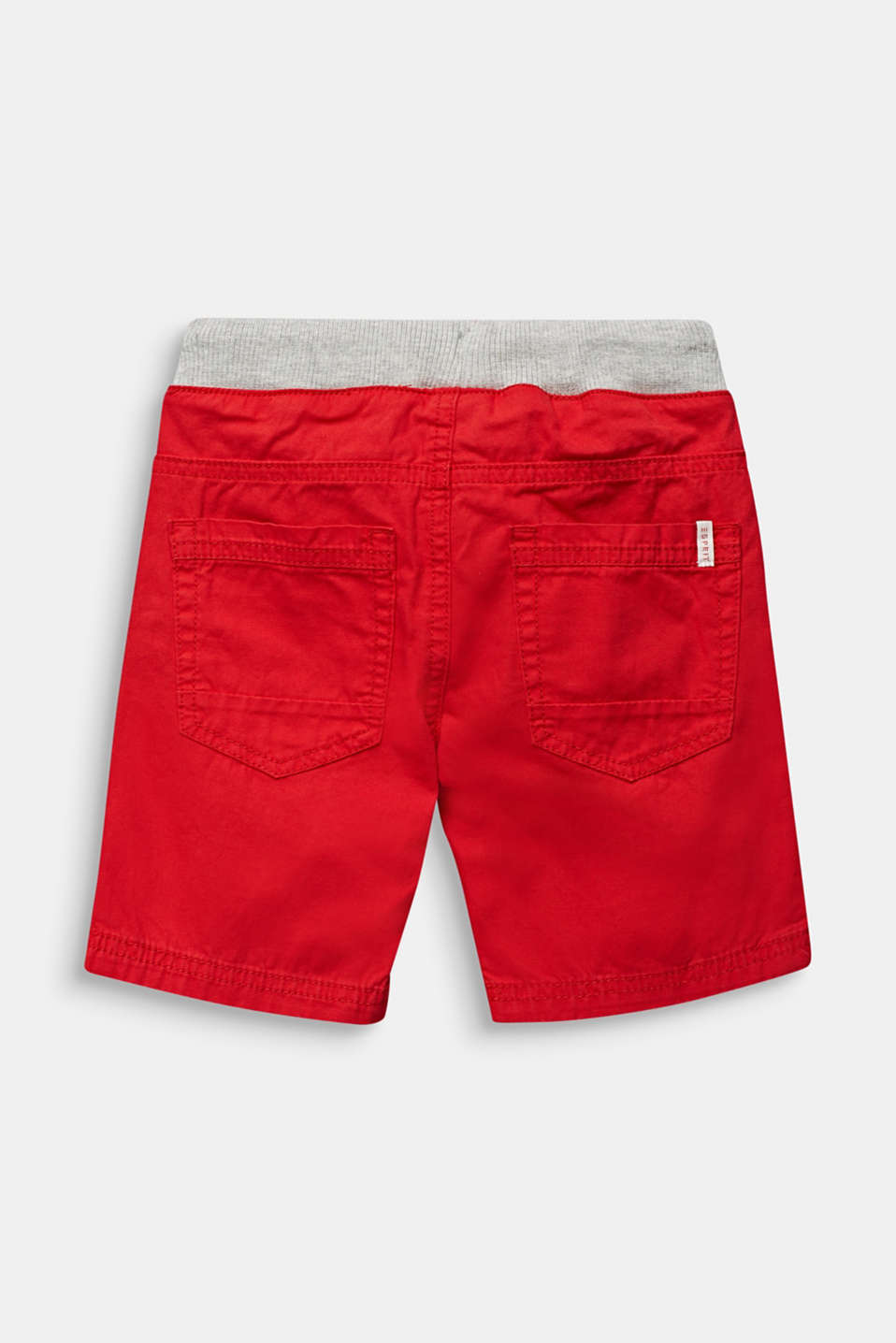 Shorts with a ribbed waistband, 100% cotton, RED, detail image number 1