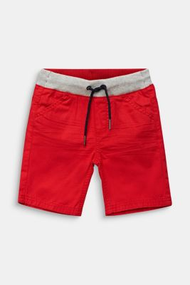 Shorts with a ribbed waistband, 100% cotton, RED, detail