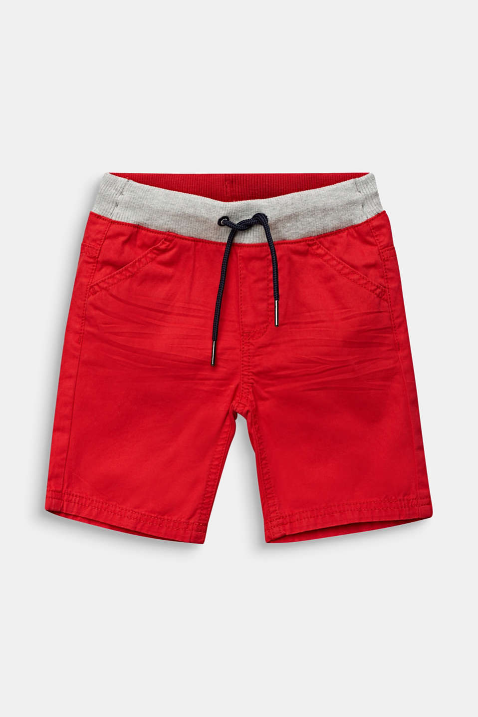Shorts with a ribbed waistband, 100% cotton, RED, detail image number 0