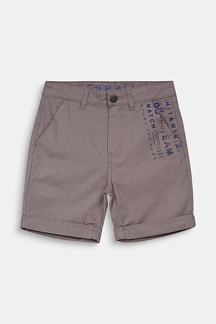 Woven shorts with a print, 100% cotton, GREY, detail image number 0