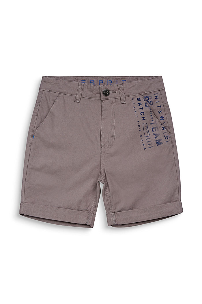 Woven shorts with a print, 100% cotton, GREY, detail image number 3