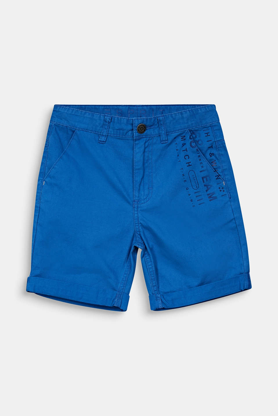 Woven shorts with a print, 100% cotton, LCELECTRIC BLUE, detail image number 0