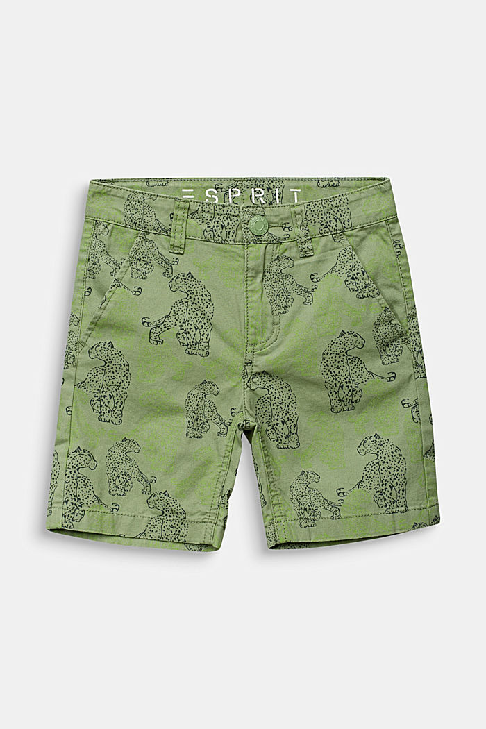 Shorts with leopard print, 100% cotton