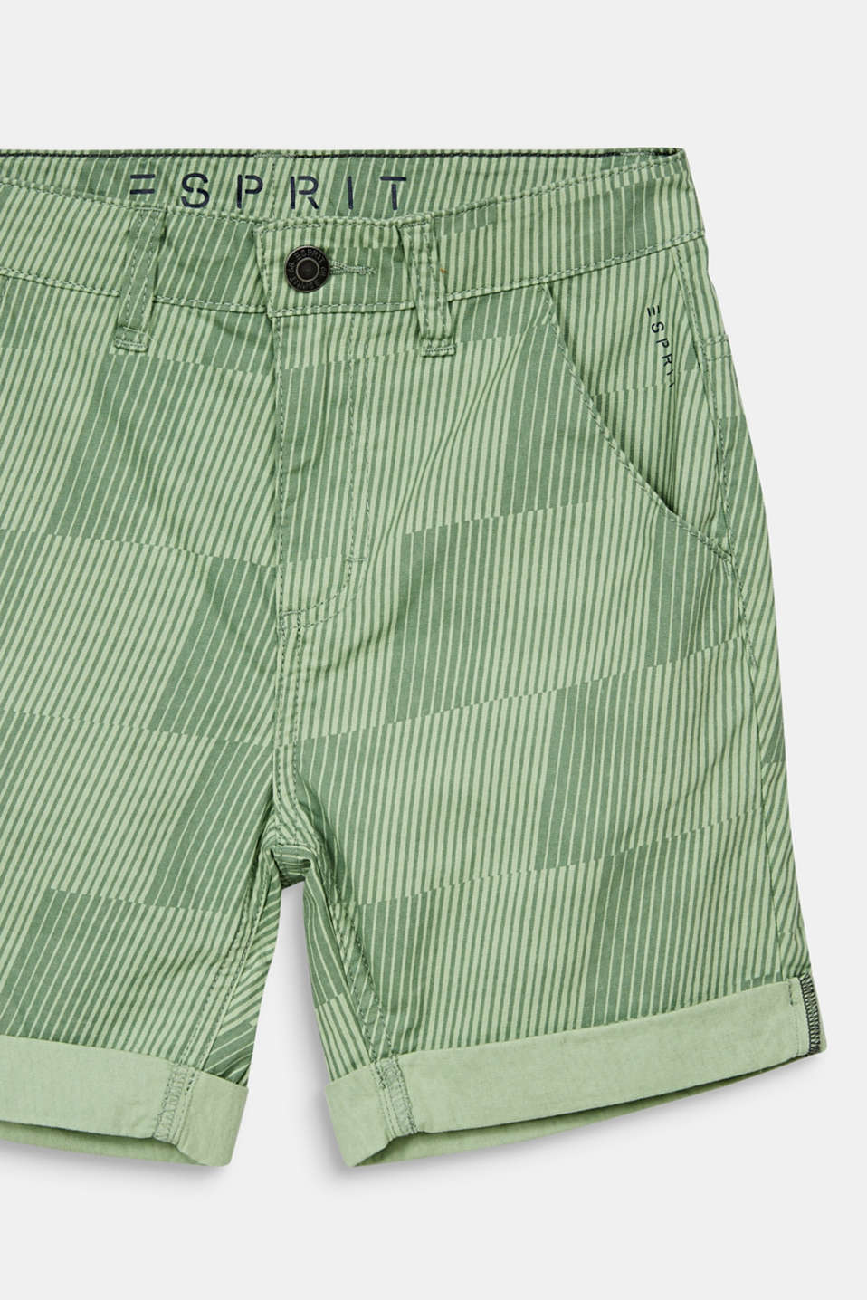 Shorts with a geometric print, 100% cotton, LCPASTEL GREEN, detail image number 2