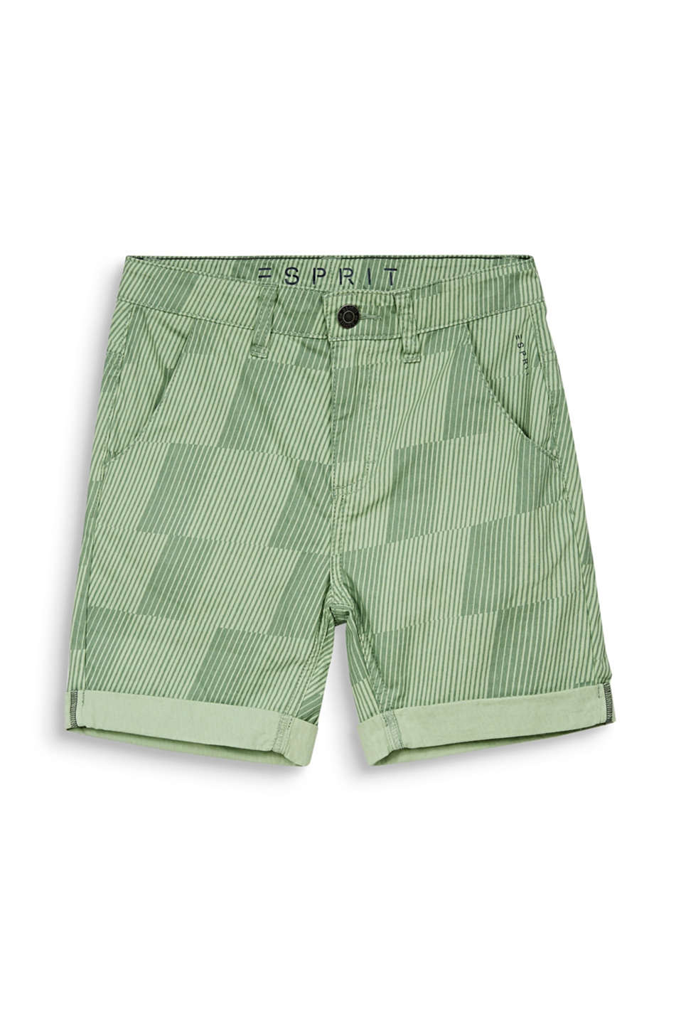 Shorts with a geometric print, 100% cotton, LCPASTEL GREEN, detail image number 3