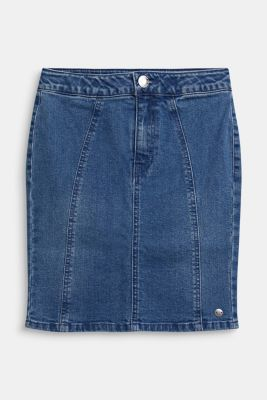 Denim skirt with a high-rise, adjustable waistband, LCLIGHT INDIGO D, detail