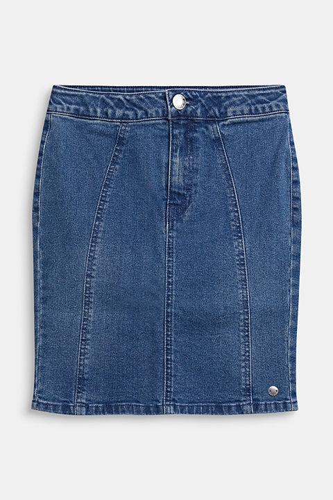 Denim skirt with a high-rise, adjustable waistband