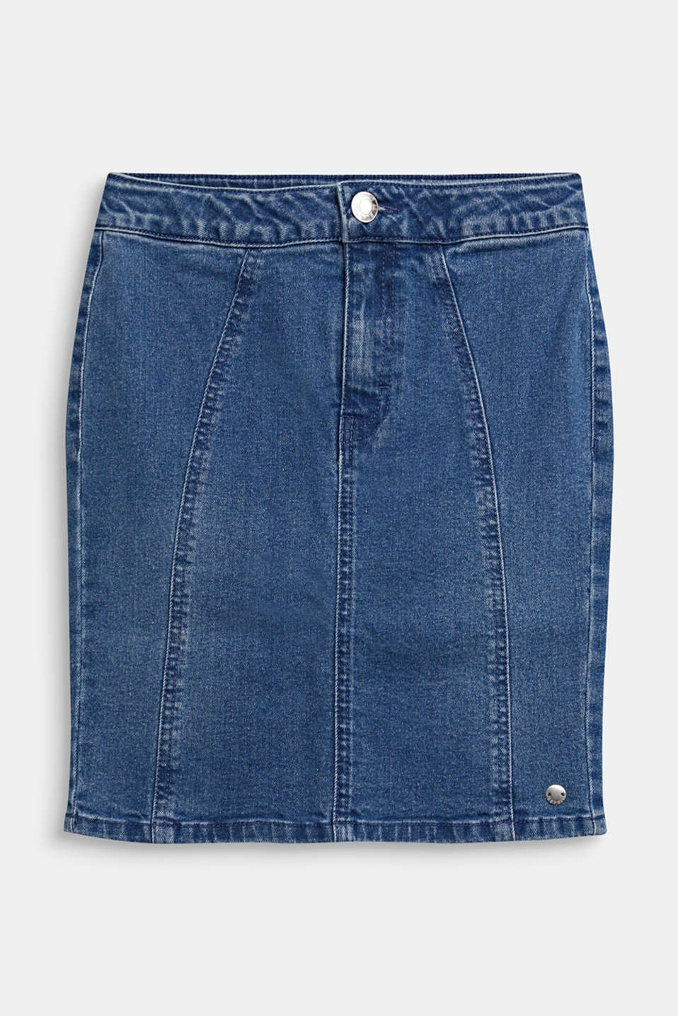 Denim skirt with a high-rise, adjustable waistband, LCLIGHT INDIGO D, detail image number 0