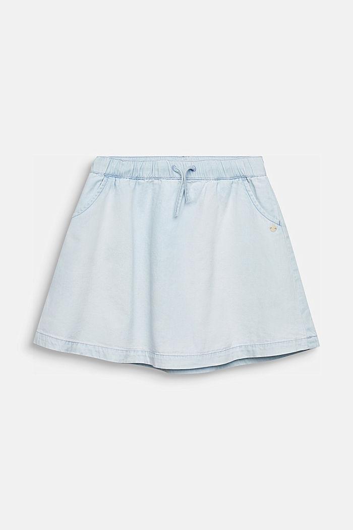 Denim skirt in 100% cotton, LIGHT INDIGO DENIM, detail image number 0
