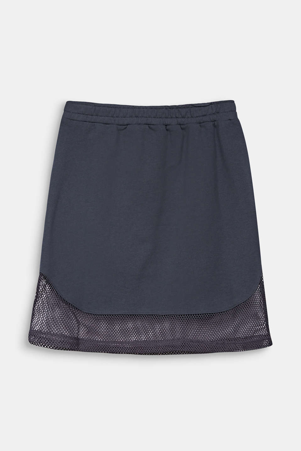 Sweatshirt fabric skirt with a mesh trim, LCANTHRACITE, detail image number 1