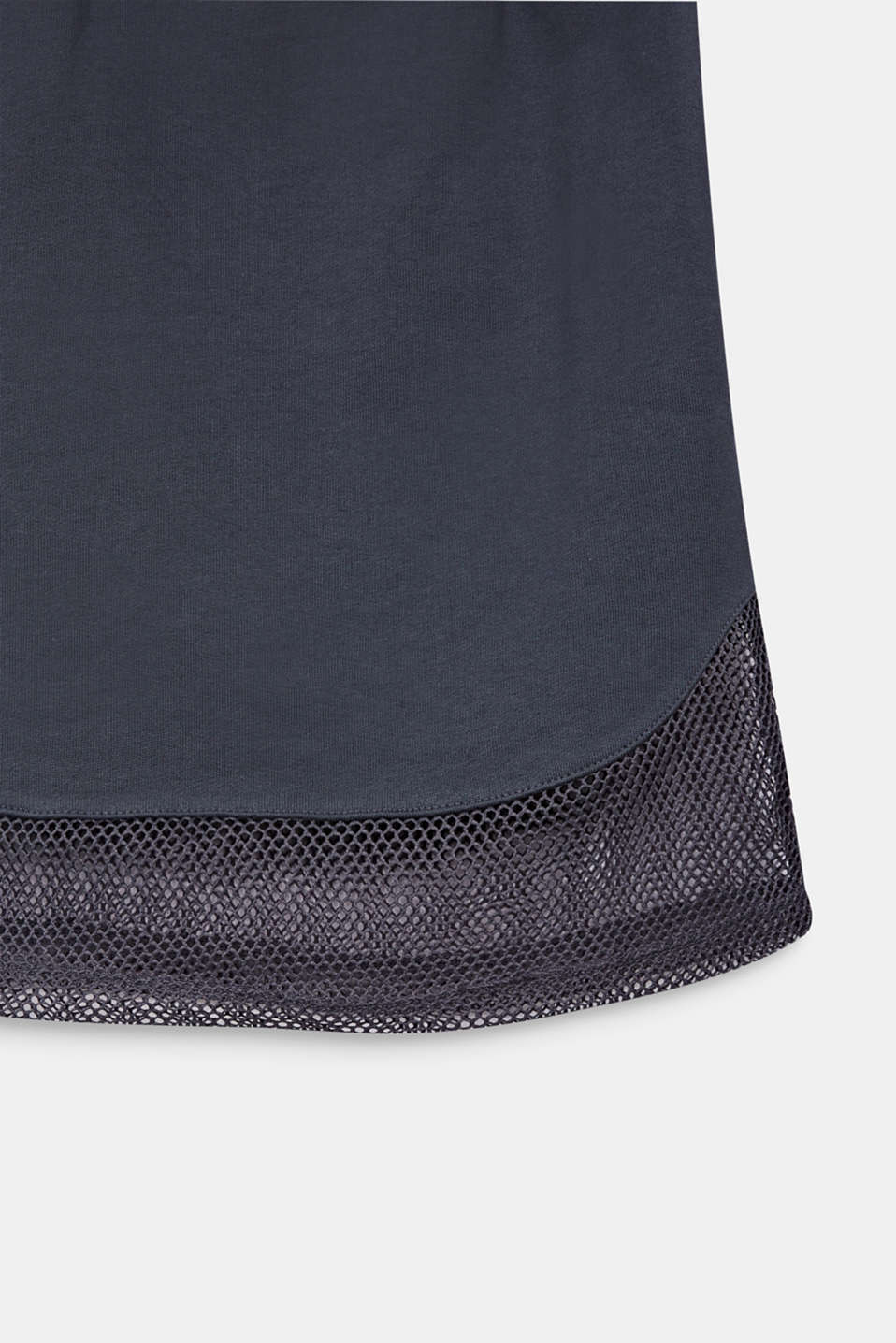 Sweatshirt fabric skirt with a mesh trim, LCANTHRACITE, detail image number 2