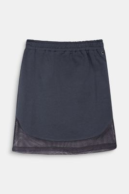 Sweatshirt fabric skirt with a mesh trim, LCANTHRACITE, detail