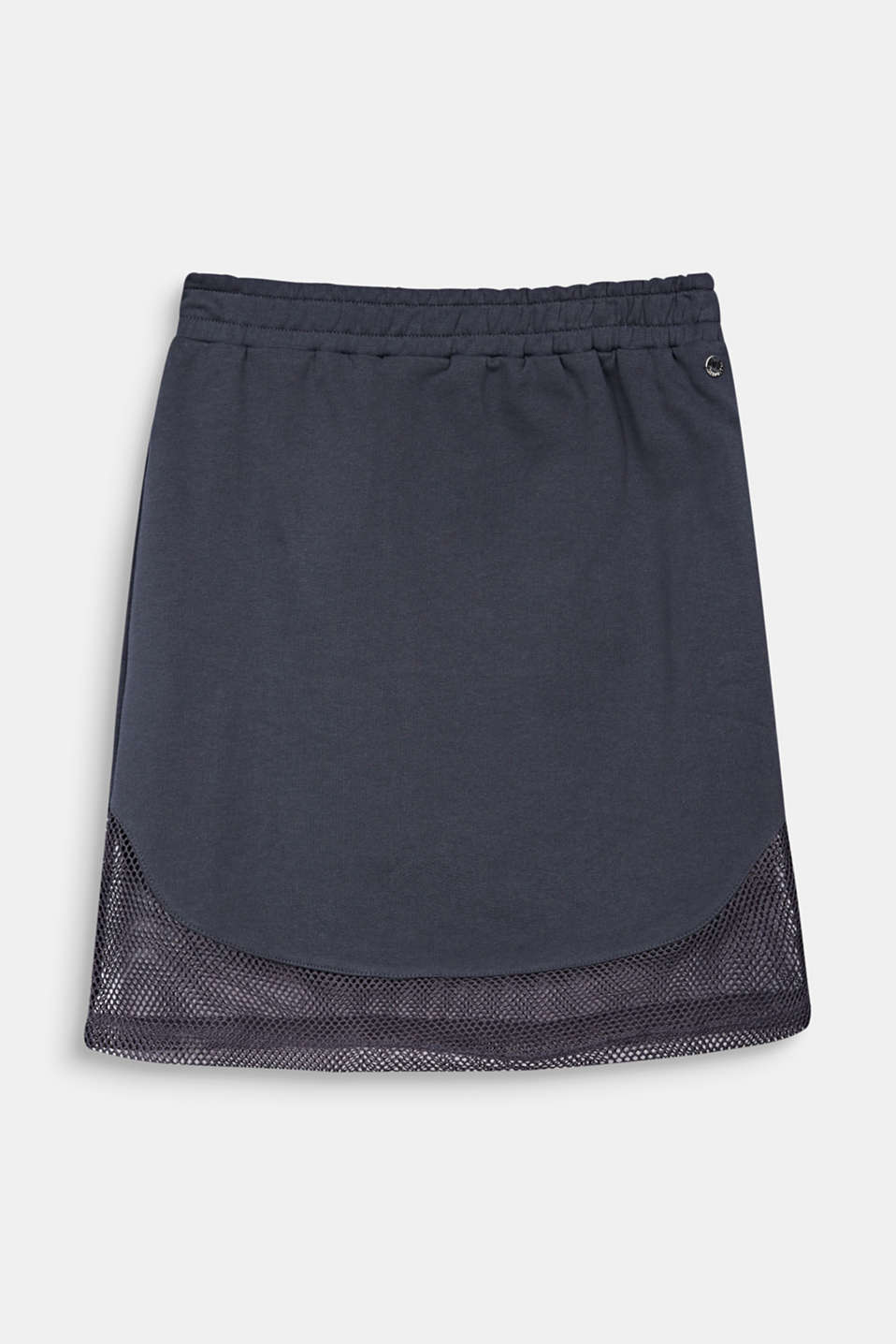 Sweatshirt fabric skirt with a mesh trim, LCANTHRACITE, detail image number 0