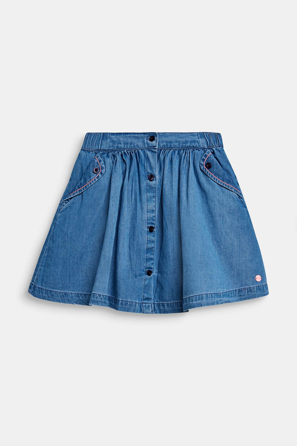 Denim A-line skirt, 100% cotton, MEDIUM WASH DE, detail image number 0